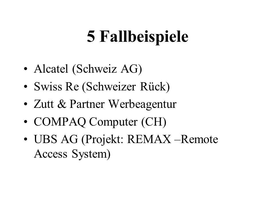 5 Fallbeispiele Alcatel (Schweiz AG) Swiss Re (Schweizer Rück) Zutt & Partner Werbeagentur COMPAQ Computer (CH) UBS AG (Projekt: REMAX –Remote Access System)