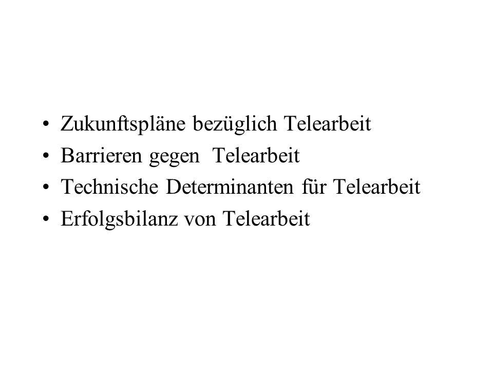 Zukunftspläne bezüglich Telearbeit Barrieren gegen Telearbeit Technische Determinanten für Telearbeit Erfolgsbilanz von Telearbeit