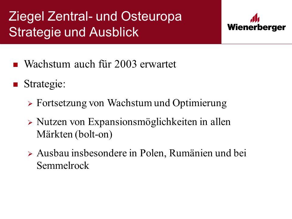 Ziegel Zentral- und Osteuropa Strategie und Ausblick Wachstum auch für 2003 erwartet Strategie:  Fortsetzung von Wachstum und Optimierung  Nutzen vo