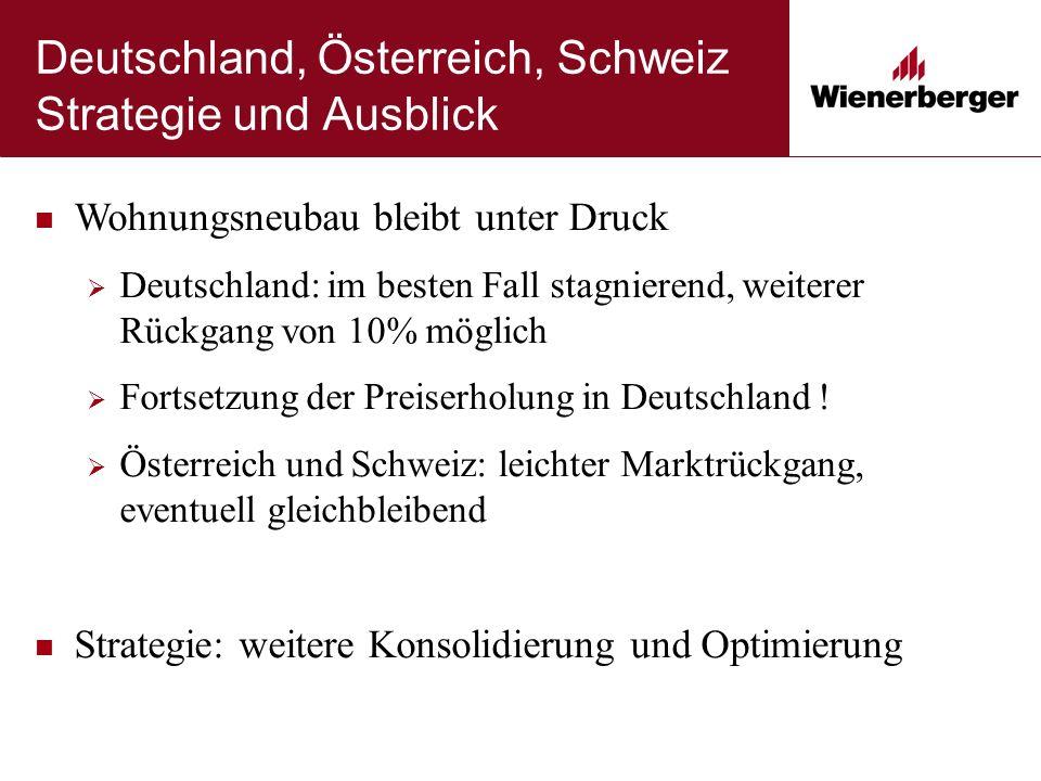 Deutschland, Österreich, Schweiz Strategie und Ausblick Wohnungsneubau bleibt unter Druck  Deutschland: im besten Fall stagnierend, weiterer Rückgang