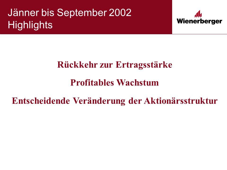 Jänner bis September 2002 Highlights Rückkehr zur Ertragsstärke Profitables Wachstum Entscheidende Veränderung der Aktionärsstruktur