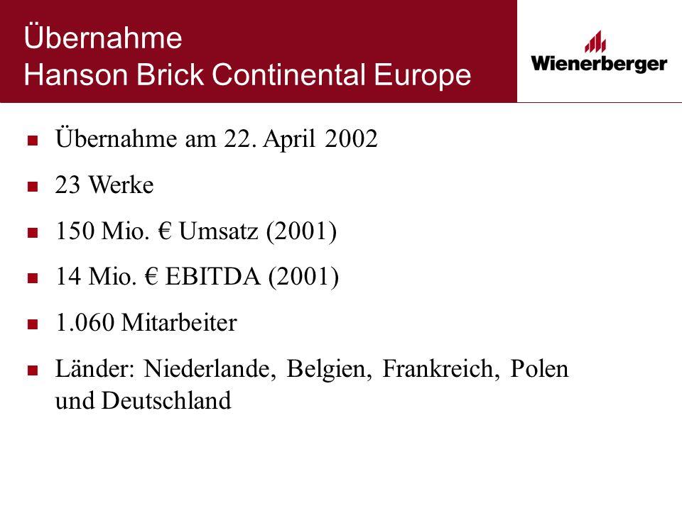Übernahme Hanson Brick Continental Europe Übernahme am 22. April 2002 23 Werke 150 Mio. € Umsatz (2001) 14 Mio. € EBITDA (2001) 1.060 Mitarbeiter Länd