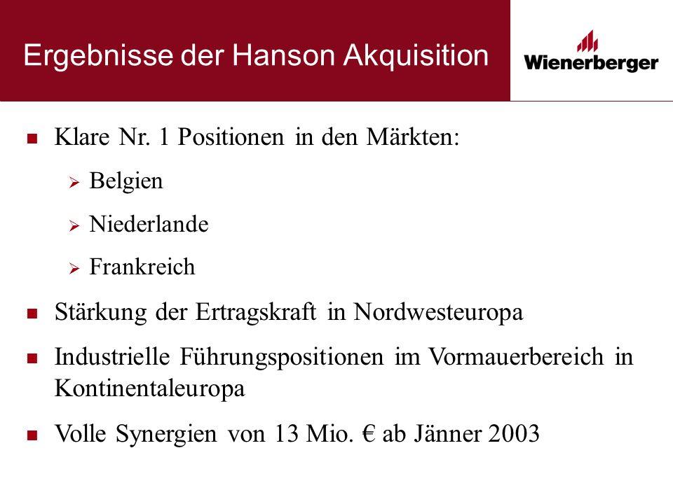 Ergebnisse der Hanson Akquisition Klare Nr. 1 Positionen in den Märkten:  Belgien  Niederlande  Frankreich Stärkung der Ertragskraft in Nordwesteur