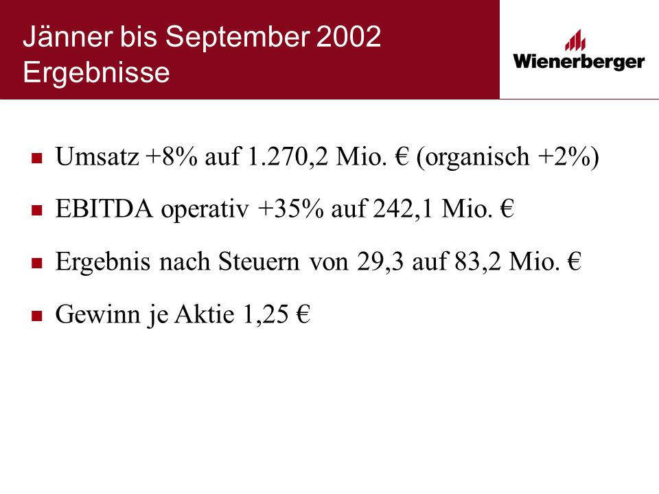 Jänner bis September 2002 Ergebnisse Umsatz +8% auf 1.270,2 Mio. € (organisch +2%) EBITDA operativ +35% auf 242,1 Mio. € Ergebnis nach Steuern von 29,