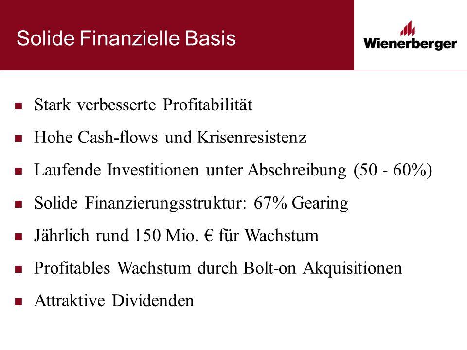 Solide Finanzielle Basis Stark verbesserte Profitabilität Hohe Cash-flows und Krisenresistenz Laufende Investitionen unter Abschreibung (50 - 60%) Solide Finanzierungsstruktur: 67% Gearing Jährlich rund 150 Mio.