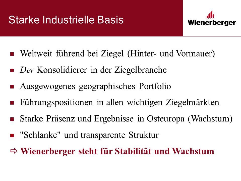 Starke Industrielle Basis Weltweit führend bei Ziegel (Hinter- und Vormauer) Der Konsolidierer in der Ziegelbranche Ausgewogenes geographisches Portfo