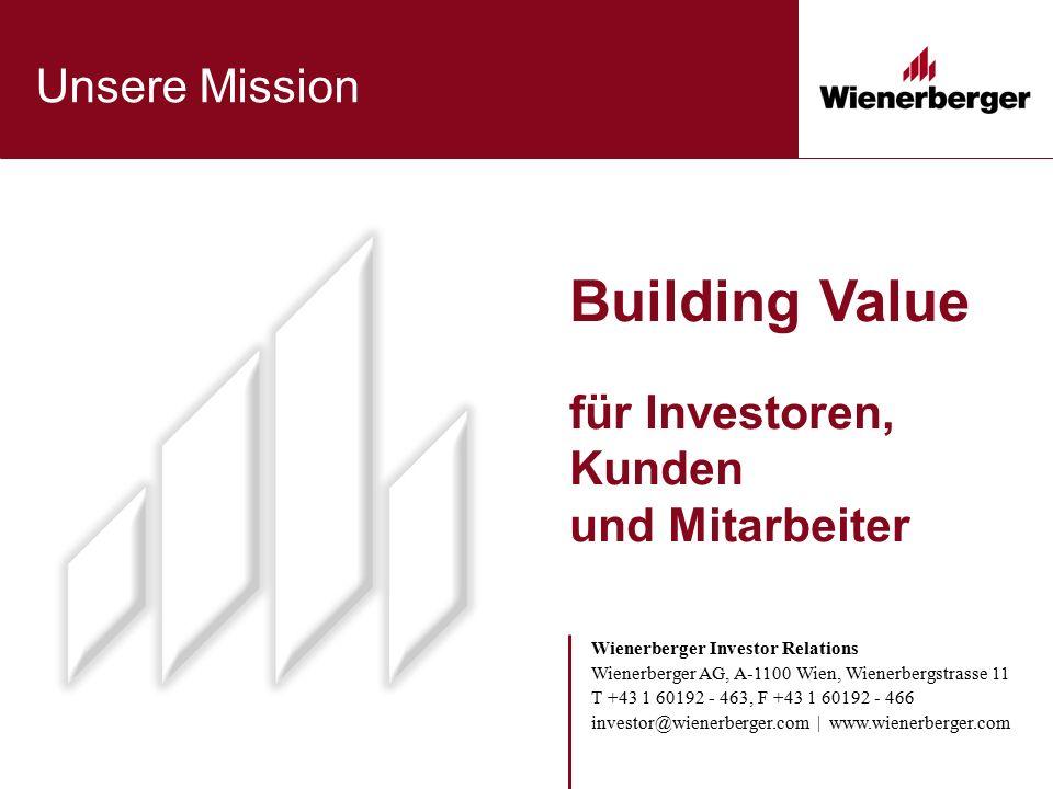 Building Value für Investoren, Kunden und Mitarbeiter Unsere Mission Wienerberger Investor Relations Wienerberger AG, A-1100 Wien, Wienerbergstrasse 1