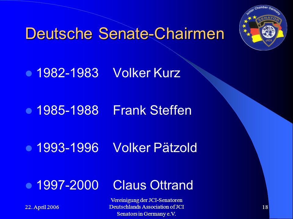 22. April 2006 Vereinigung der JCI-Senatoren Deutschlands Association of JCI Senators in Germany e.V. 18 Deutsche Senate-Chairmen 1982-1983Volker Kurz
