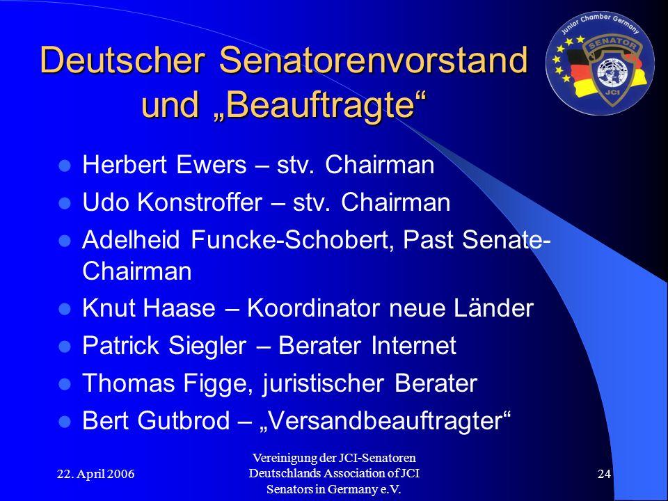"""22. April 2006 Vereinigung der JCI-Senatoren Deutschlands Association of JCI Senators in Germany e.V. 24 Deutscher Senatorenvorstand und """"Beauftragte"""""""