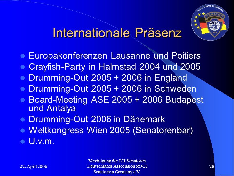 22. April 2006 Vereinigung der JCI-Senatoren Deutschlands Association of JCI Senators in Germany e.V. 28 Internationale Präsenz Europakonferenzen Laus