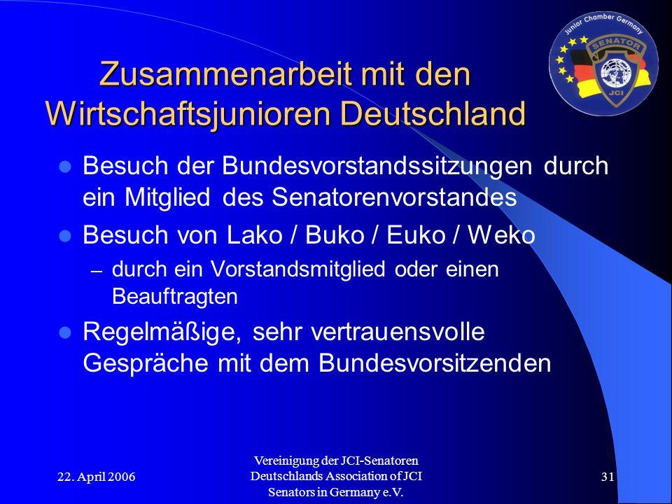 22. April 2006 Vereinigung der JCI-Senatoren Deutschlands Association of JCI Senators in Germany e.V. 31 Zusammenarbeit mit den Wirtschaftsjunioren De