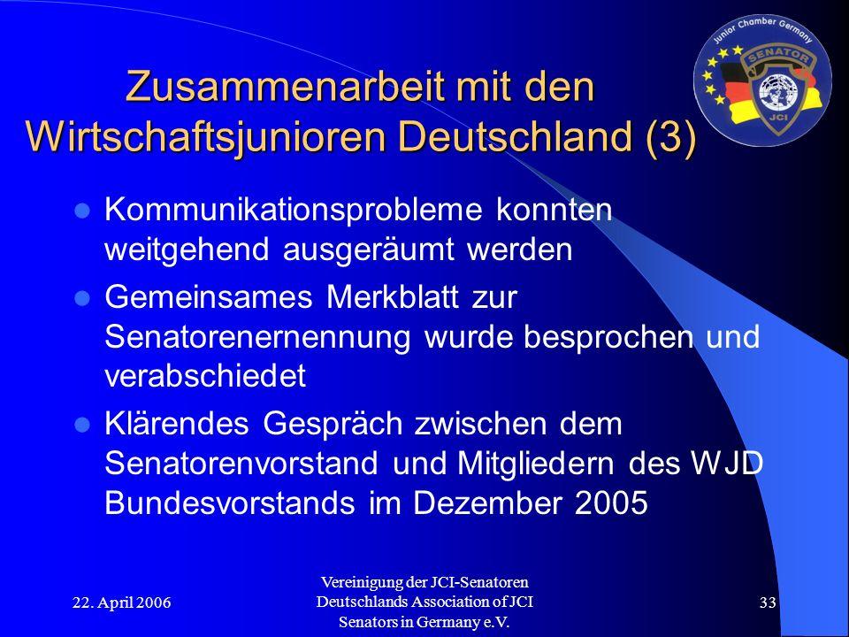 22. April 2006 Vereinigung der JCI-Senatoren Deutschlands Association of JCI Senators in Germany e.V. 33 Zusammenarbeit mit den Wirtschaftsjunioren De