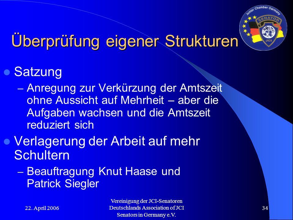 22. April 2006 Vereinigung der JCI-Senatoren Deutschlands Association of JCI Senators in Germany e.V. 34 Überprüfung eigener Strukturen Satzung – Anre