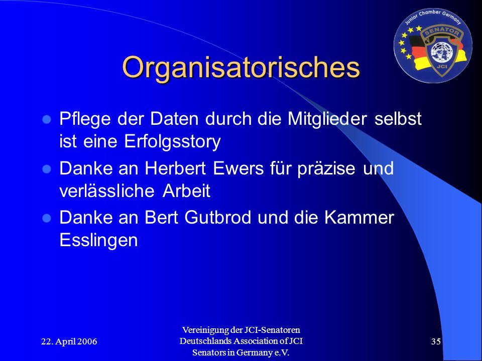 22. April 2006 Vereinigung der JCI-Senatoren Deutschlands Association of JCI Senators in Germany e.V. 35 Organisatorisches Pflege der Daten durch die