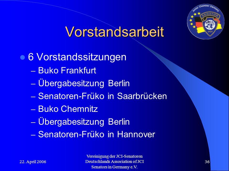 22. April 2006 Vereinigung der JCI-Senatoren Deutschlands Association of JCI Senators in Germany e.V. 36 Vorstandsarbeit 6 Vorstandssitzungen – Buko F
