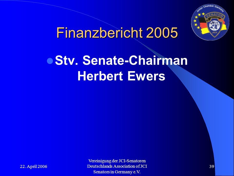 22. April 2006 Vereinigung der JCI-Senatoren Deutschlands Association of JCI Senators in Germany e.V. 39 Finanzbericht 2005 Stv. Senate-Chairman Herbe
