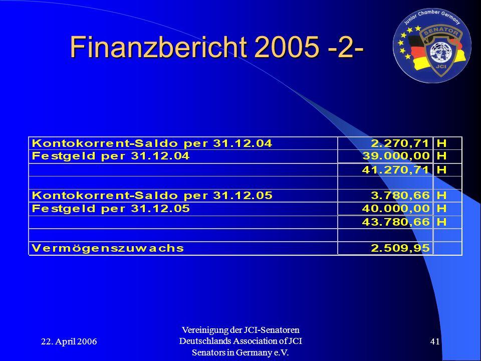 22. April 2006 Vereinigung der JCI-Senatoren Deutschlands Association of JCI Senators in Germany e.V. 41 Finanzbericht 2005 -2-