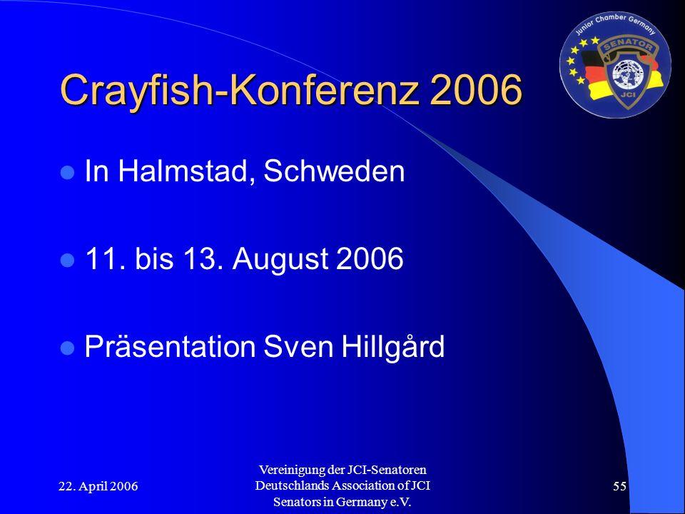 22. April 2006 Vereinigung der JCI-Senatoren Deutschlands Association of JCI Senators in Germany e.V. 55 Crayfish-Konferenz 2006 In Halmstad, Schweden