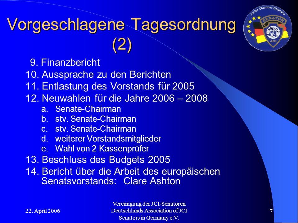 22. April 2006 Vereinigung der JCI-Senatoren Deutschlands Association of JCI Senators in Germany e.V. 7 Vorgeschlagene Tagesordnung (2) 9. Finanzberic