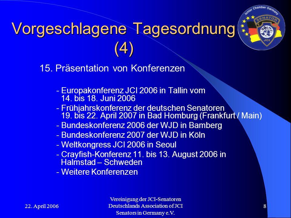 22. April 2006 Vereinigung der JCI-Senatoren Deutschlands Association of JCI Senators in Germany e.V. 8 Vorgeschlagene Tagesordnung (4) 15. Präsentati