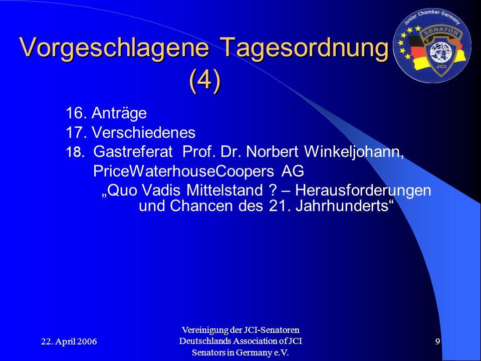 22. April 2006 Vereinigung der JCI-Senatoren Deutschlands Association of JCI Senators in Germany e.V. 9 Vorgeschlagene Tagesordnung (4) 16. Anträge 17