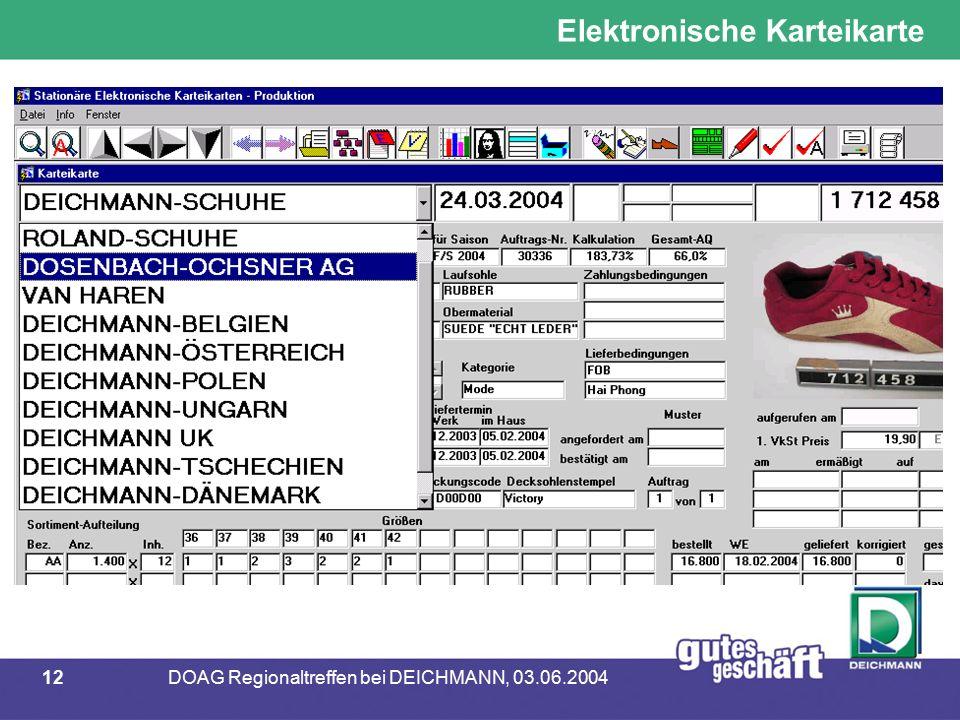 12DOAG Regionaltreffen bei DEICHMANN, 03.06.2004 Elektronische Karteikarte