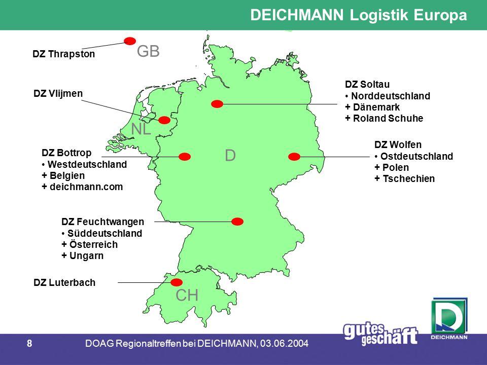 9DOAG Regionaltreffen bei DEICHMANN, 03.06.2004 DatenbankORACLE RDBMSHyperion Essbase BetriebssystemSolaris LinuxMS-WIN NT / 2000 HardwareFS PrimePower 1500Intel Pentium Finanz- und Rechnungsw.