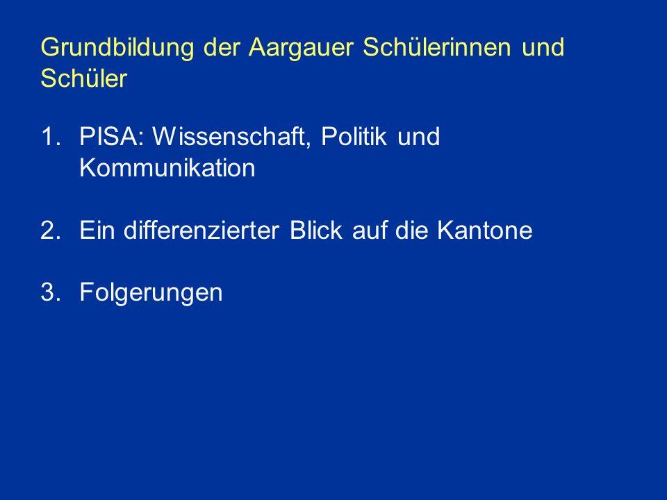 Grundbildung der Aargauer Schülerinnen und Schüler 1.PISA: Wissenschaft, Politik und Kommunikation 2.Ein differenzierter Blick auf die Kantone 3.Folgerungen