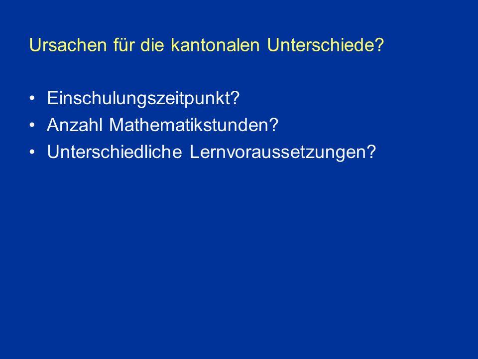 Ursachen für die kantonalen Unterschiede. Einschulungszeitpunkt.
