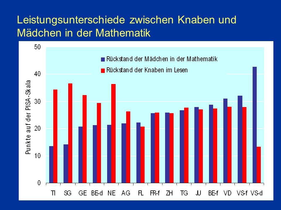 Leistungsunterschiede zwischen Knaben und Mädchen in der Mathematik