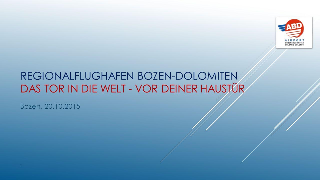 REGIONALFLUGHAFEN BOZEN-DOLOMITEN DAS TOR IN DIE WELT - VOR DEINER HAUSTÜR Bozen, 20.10.2015 1