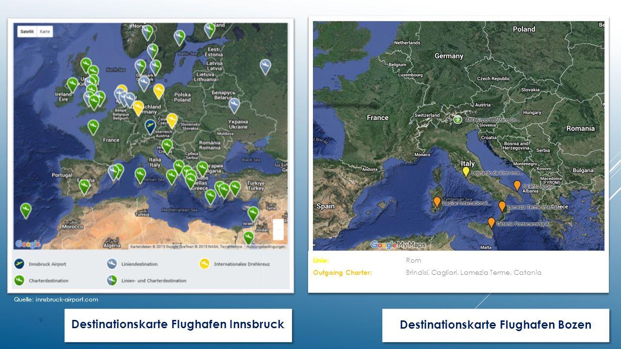 Destinationskarte Flughafen InnsbruckDestinationskarte Flughafen Bozen 9 Quelle: innsbruck-airport.com