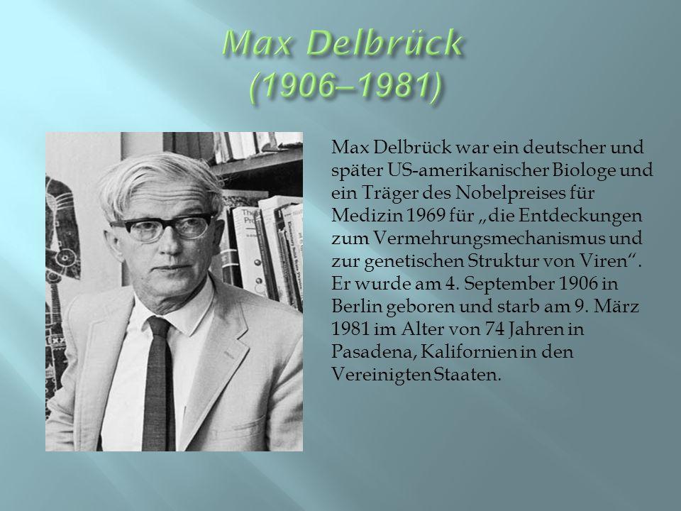 """Max Delbrück war ein deutscher und später US-amerikanischer Biologe und ein Träger des Nobelpreises für Medizin 1969 für """"die Entdeckungen zum Vermehrungsmechanismus und zur genetischen Struktur von Viren ."""