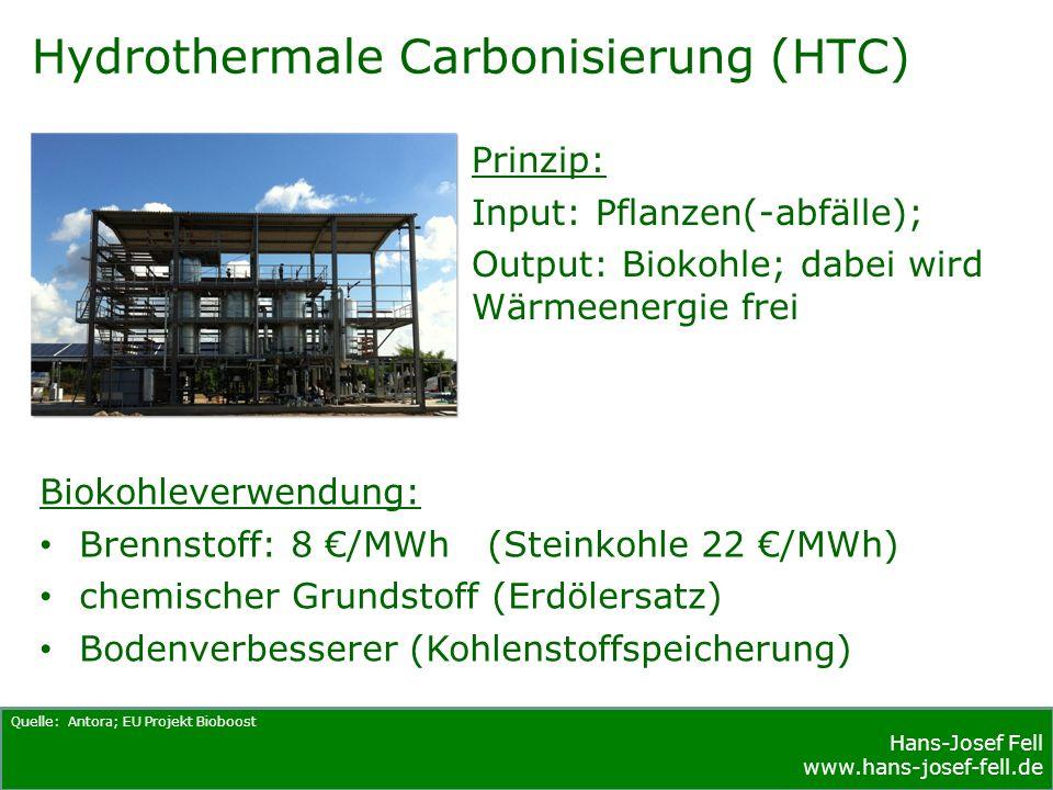 Hans-Josef Fell www.hans-josef-fell.de Hydrothermale Carbonisierung (HTC) Quelle: Antora; EU Projekt Bioboost Prinzip: Input: Pflanzen(-abfälle); Output: Biokohle; dabei wird Wärmeenergie frei Biokohleverwendung: Brennstoff: 8 €/MWh (Steinkohle 22 €/MWh) chemischer Grundstoff (Erdölersatz) Bodenverbesserer (Kohlenstoffspeicherung)
