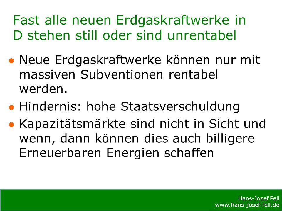 Hans-Josef Fell www.hans-josef-fell.de Hans-Josef Fell www.hans-josef-fell.de Fast alle neuen Erdgaskraftwerke in D stehen still oder sind unrentabel Neue Erdgaskraftwerke können nur mit massiven Subventionen rentabel werden.