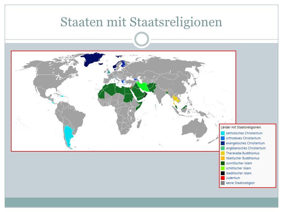 Staaten mit Staatsreligionen