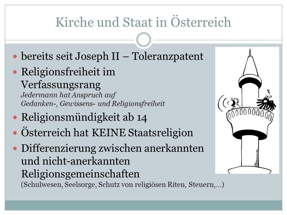 Kirche und Staat in Österreich bereits seit Joseph II – Toleranzpatent Religionsfreiheit im Verfassungsrang Jedermann hat Anspruch auf Gedanken-, Gewi
