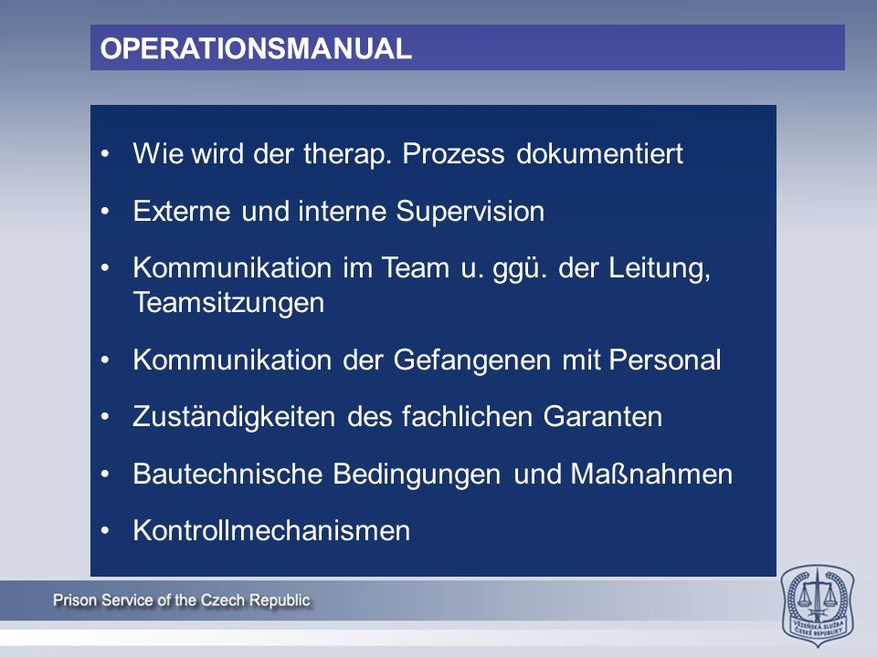 OPERATIONSMANUAL Wie wird der therap.