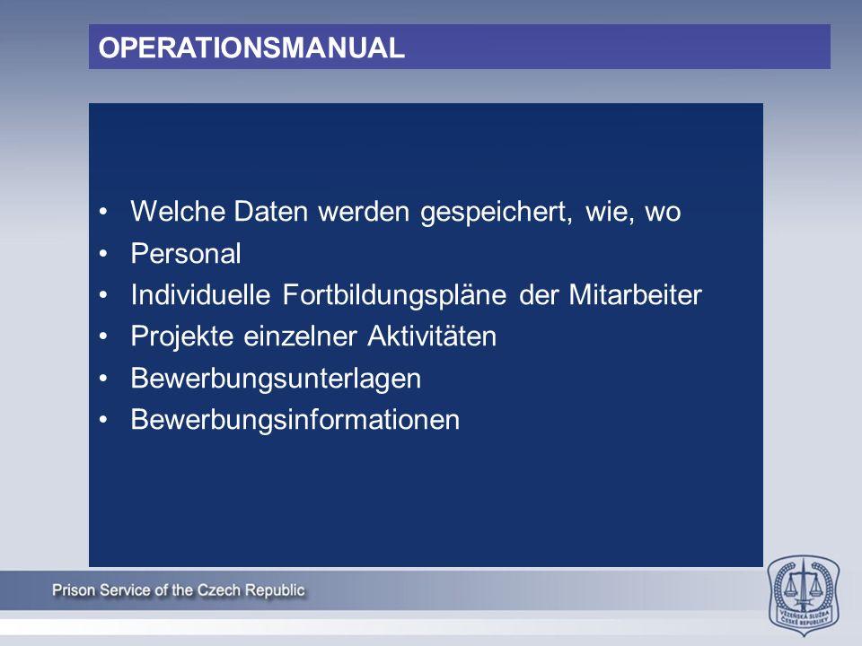OPERATIONSMANUAL Welche Daten werden gespeichert, wie, wo Personal Individuelle Fortbildungspläne der Mitarbeiter Projekte einzelner Aktivitäten Bewerbungsunterlagen Bewerbungsinformationen