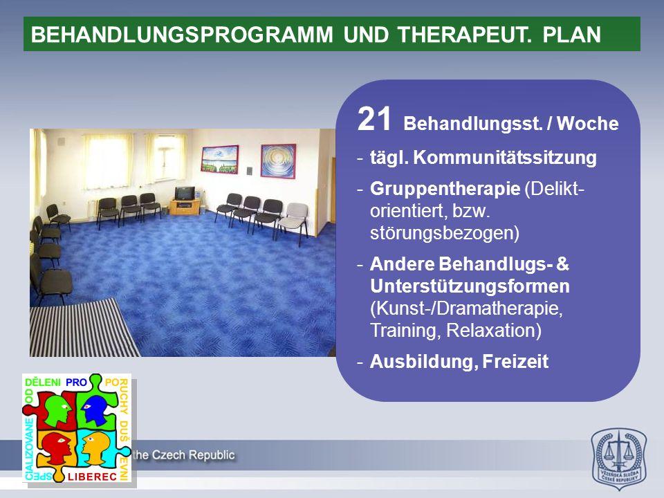 21 Behandlungsst. / Woche -tägl. Kommunitätssitzung -Gruppentherapie (Delikt- orientiert, bzw.