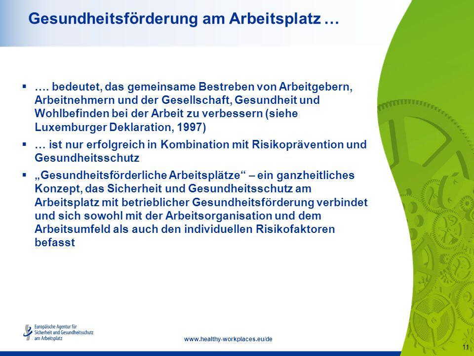 11 www.healthy-workplaces.eu/de Gesundheitsförderung am Arbeitsplatz …  ….
