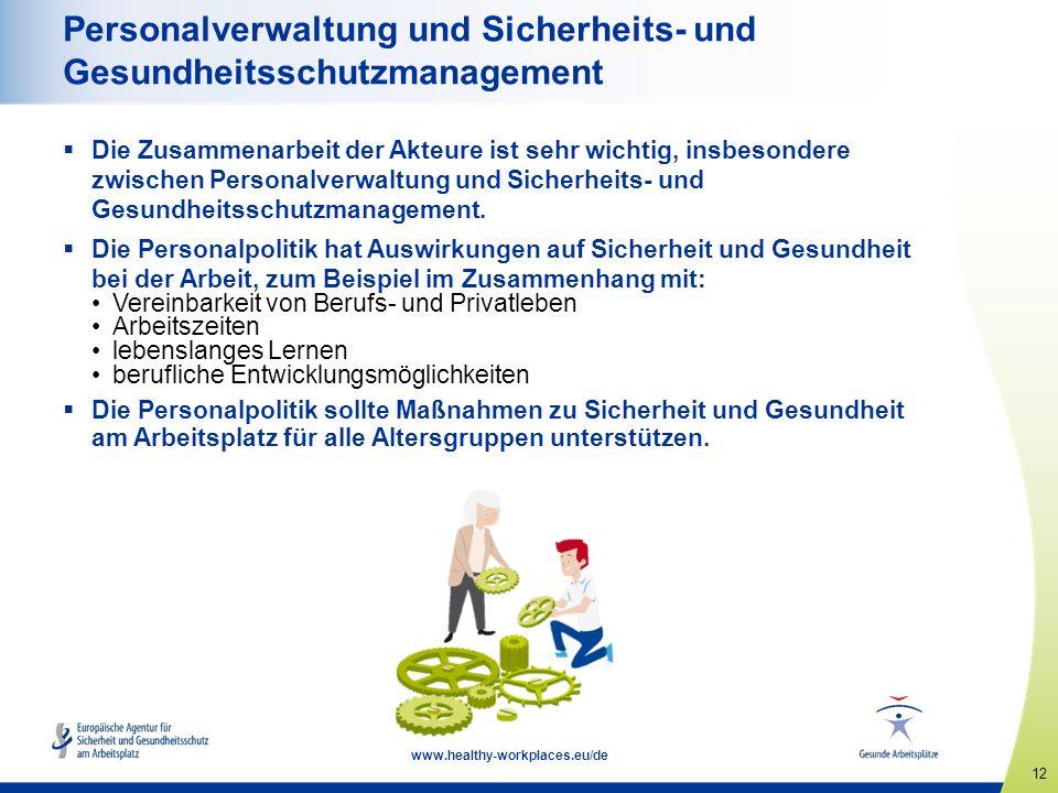 12 www.healthy-workplaces.eu/de Personalverwaltung und Sicherheits- und Gesundheitsschutzmanagement  Die Zusammenarbeit der Akteure ist sehr wichtig, insbesondere zwischen Personalverwaltung und Sicherheits- und Gesundheitsschutzmanagement.
