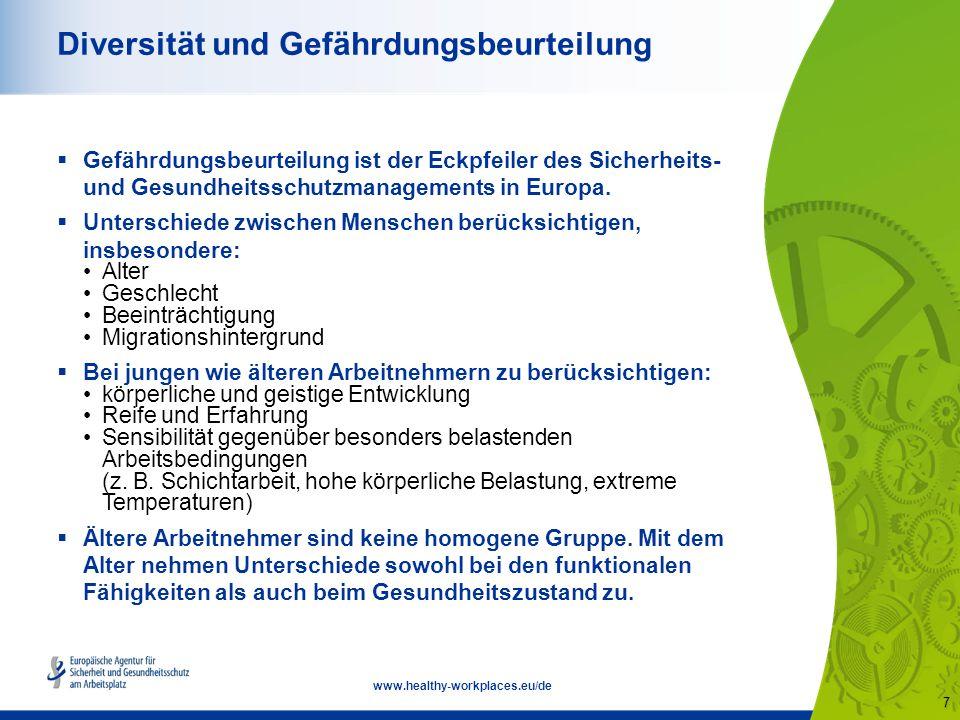 7 www.healthy-workplaces.eu/de Diversität und Gefährdungsbeurteilung  Gefährdungsbeurteilung ist der Eckpfeiler des Sicherheits- und Gesundheitsschutzmanagements in Europa.