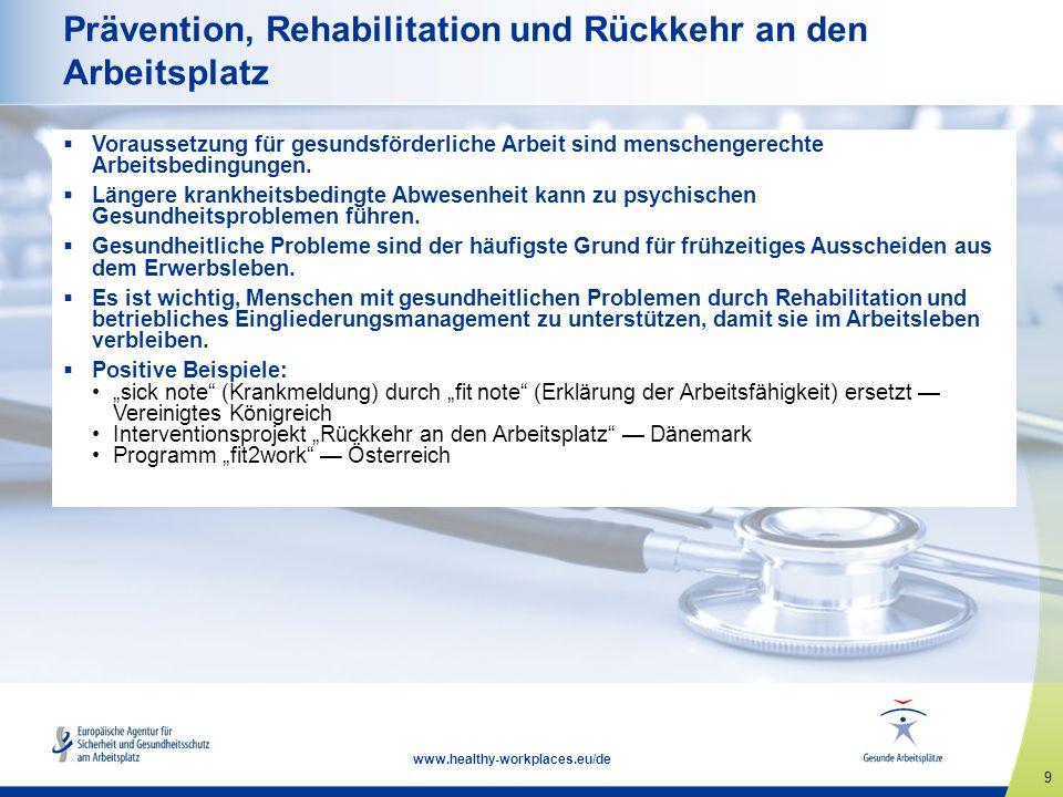 9 www.healthy-workplaces.eu/de Prävention, Rehabilitation und Rückkehr an den Arbeitsplatz  Voraussetzung für gesundsförderliche Arbeit sind menschengerechte Arbeitsbedingungen.