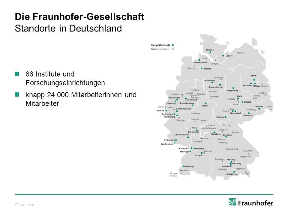 © Fraunhofer Die Fraunhofer-Gesellschaft Standorte in Deutschland 66 Institute und Forschungseinrichtungen knapp 24 000 Mitarbeiterinnen und Mitarbeiter