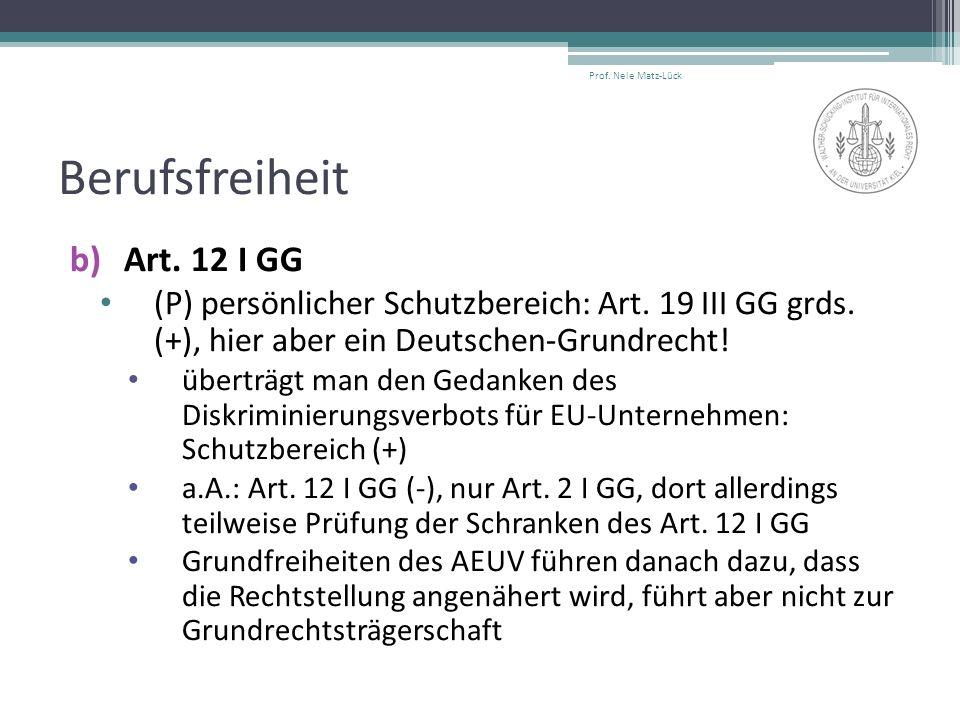 Berufsfreiheit b)Art. 12 I GG (P) persönlicher Schutzbereich: Art. 19 III GG grds. (+), hier aber ein Deutschen-Grundrecht! überträgt man den Gedanken