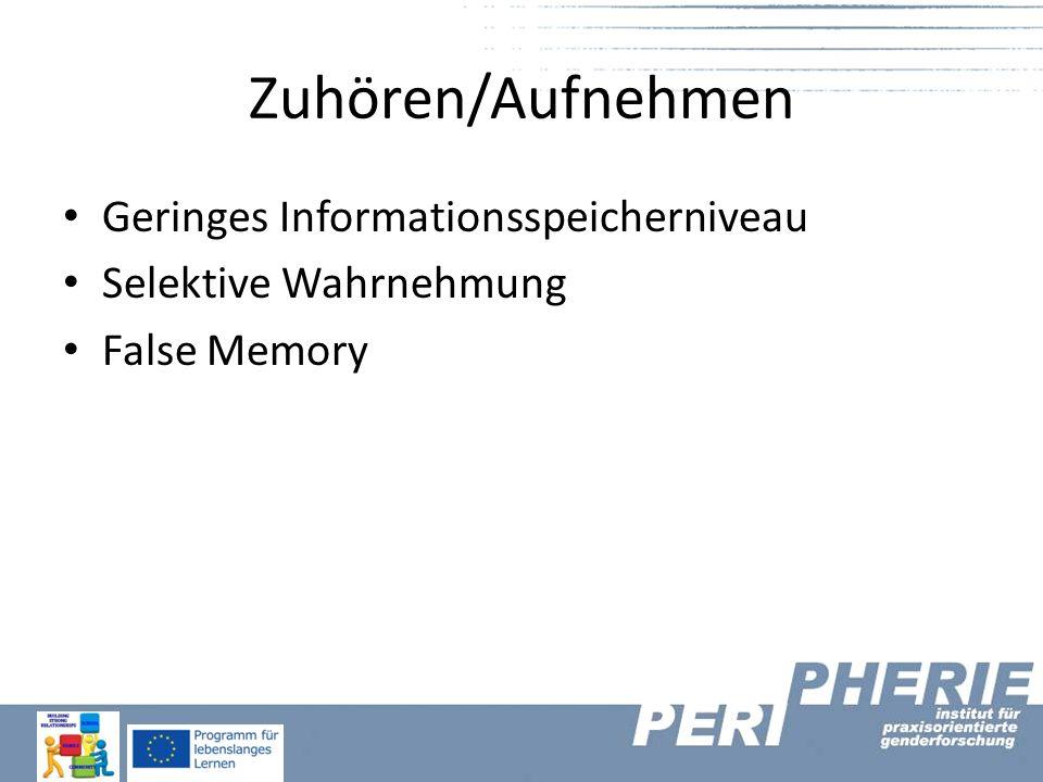 Zuhören/Aufnehmen Geringes Informationsspeicherniveau Selektive Wahrnehmung False Memory