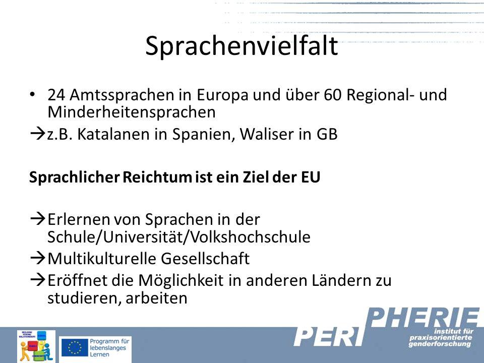 Sprachenvielfalt 24 Amtssprachen in Europa und über 60 Regional- und Minderheitensprachen  z.B.