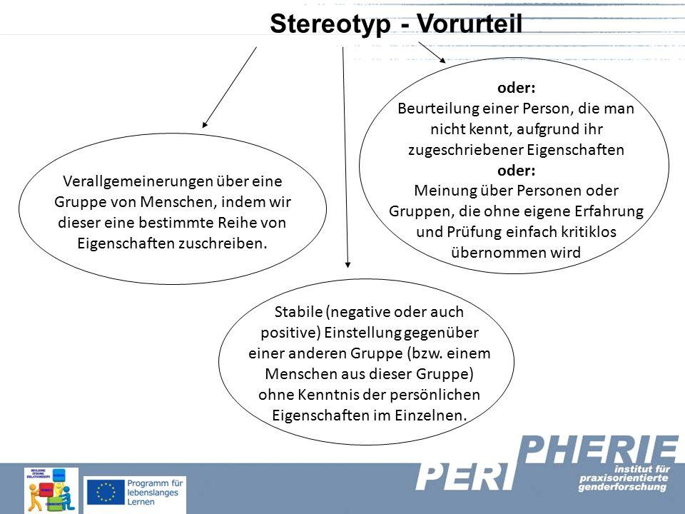 Stereotyp - Vorurteil Verallgemeinerungen über eine Gruppe von Menschen, indem wir dieser eine bestimmte Reihe von Eigenschaften zuschreiben.