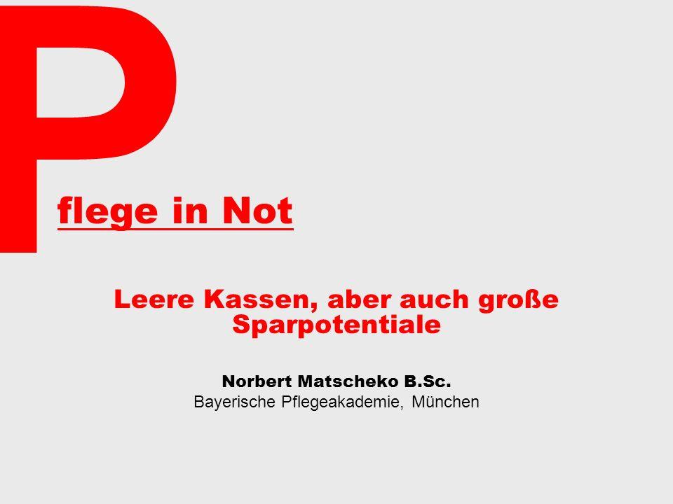 flege in Not Leere Kassen, aber auch große Sparpotentiale Norbert Matscheko B.Sc.